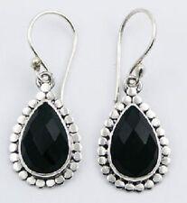 Black agate facet pear cut drop sterling silver dangle earrings 925 silver 33mm