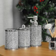3pc Bathroom Accessories Crushed Diamond Set Soap Dispenser Toothbrush Tumbler