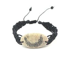 waxed nylon bracelet handmade new Celtic moon carved stone braided woven