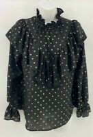 Women Ladies New Black With Gold Spots Long Sleeve Top/Blouse/Shirt UK 8-18