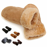 Women Men Winter Fur Cuff Warm Mittens Real Sheepskin Leather Full Finger Gloves