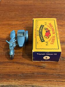MATCHBOX n°4 TRIUMPH T110 avec SIDE CAR + BOITE collection miniature moto