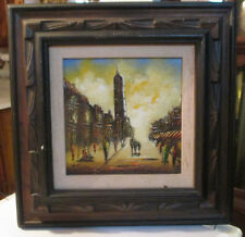 VINTAGE ORIGINAL CITY SCAPE OIL PAINTING ON Canvas by R.Styles