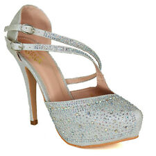 Women High Stiletto Heel Platform Shoes Strappy Diamante Closed Toe Sandals Size
