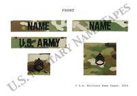 U.S. Army OCP (Scorpion) Name Tape, Service Tape & Rank Patch Set for ACU & Cap