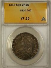 1810 Capped Bust Silver Half Dollar 50c ANACS VF-25 (Better Coin)