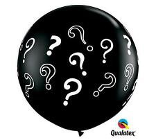 "HUGE 36"" Gender Reveal Black Question Mark Qualatex Latex Balloon FREE SHIP"