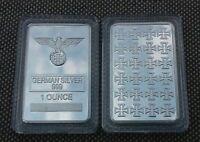 1 oz  Fine German Silver Iron Cross Bar (rare)   W/ AIR TIGHT CASE - LOW PRICE