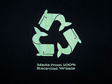 MADE FROM 100% RECYCLED WHALE / SPOOF JOKE FUN RECYCLING / BLACK T-SHIRT SIZE XL