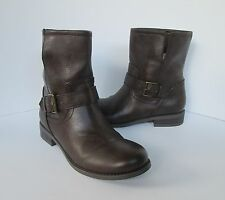 Old Navy Womens Dark Brown Slip On Ankle Moto Buckle Boots Shoes 8 M