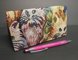 CHECKBOOK Tapestry Cats Fabric Wallet Debit Registry Document Holder