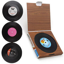 E 6pcs Retro Vinyl Coaster Groovy Record Cup Drink Holder Mat Tableware Placemat