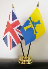 UNION JACK AND COUNTY DURHAM NEW TABLE FLAG SET 2 flags plus GOLDEN BASE
