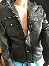 BNWT BARNEY & TAYLOR Real Leather Jacket Black Size L SAVE £££ss