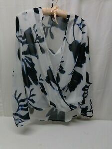 H&M White & Blue Floral Sheer w Front Faux Camisole Crisscross Size 10