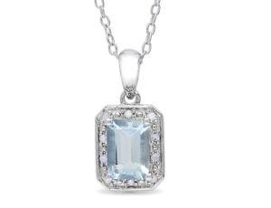 Emerald Cut Aquamarine Pendant 1.0 carat (ctw)  with Diamonds Sterling Silver