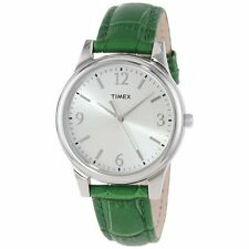 NEW-TIMEX SILVER TONE,WHITE.SILVER DIAL,GREEN CROC LEATHER BAND WATCH T2P092