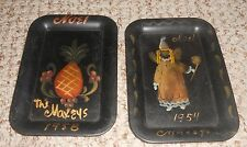 2 Vintage Toleware Tip Tray Hand Painted Fairy Angel & Pineapple 1950's Toleware