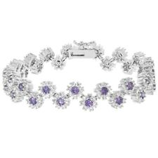 Rhodium Plated Flower Round Cut Purple and Clear CZ Special Occasion Bracelet