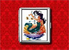 MERMAID PIN UP GIRL VINTAGE FISH 2 METAL WALLET CARD CIGARETTE ID IPOD CASE