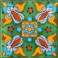 "Handmade Mexican Tile Sample Talavera Clay 4"" x 4"" Tile C263"