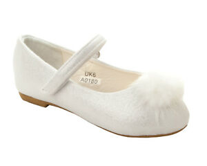 GIRLS WHITE GLITTER POM POM BRIDESMAID PARTY DOLLY BALLET PUMPS SHOES SIZE 4-12