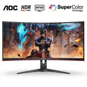 AOC CQ29G2E Curved Gaming Monitor, 2560 x 1080, Curved VA,1ms, 75Hz (Renewed)
