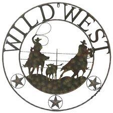 "29"" WILD WEST TEAM ROPER COWBOY COWGIRL RODEO METAL WALL ART WESTERN HOME RUSTY"