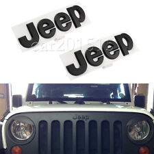 2x Jeep Metal Matt Rear Badge Emblem Logo Sticker Cherokee Wrangler Matte Black