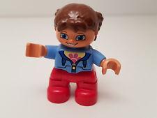 LEGO® Duplo® 1 x Mädchen mit Braunen Haaren Zöpfe rote Hose Beine