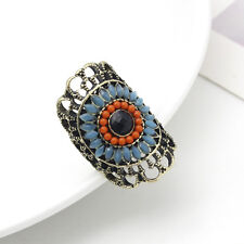 Boho Hollow Sunflower Rings Resin Beads Vintage Lady Retro Bronze Jewelry Gifts