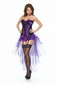 PinUp-Korsage SCHWARZ/LILA mit LILAFARBENEM TÜLLROCK Burlesque Corsage Kostüm