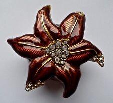 "Edgar Berebi Edelweiss Flower Enamel Crystal Trinket Box Pin Brooch 2 3/4"""