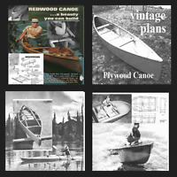 40 Vintage boat plans open Canadian canoe sail boat rowing kayak dingy cabin