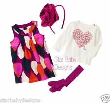 NWT Gymboree BUNDLED & BRIGHT Outfit 6-12 Months,Dress,Top,Tights.Headband,LOVE