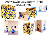 Despicable Me Minion PU Leather Stand Wallet Case Cover For Apple iPad Mini 4 UK