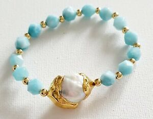 18k Gold Plated Freshwater Pearl Turquoise  Gem Stone Bracelet  Bloggers Stories