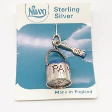 VINTAGE SOLID STERLING SILVER NUVO PAINT CAN TIN BOTTLE BRACELET CHARM PENDANT