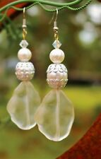 Clear frosted look lucite faux pearl gold and silver tone long pierced EARRINGS