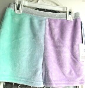 Lavendar And Green Girls L Sleep/play Shorts Size L  (10-12) With Glitter Waist