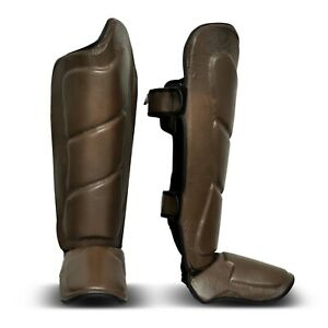 Brown Vintage Genuine Leather Shin Instep - Boxing MMA Muay Thai