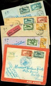 EDW1949SELL : FR. MOROCCO 5 Interesting old covers incl 1 w/ Schedule on reverse
