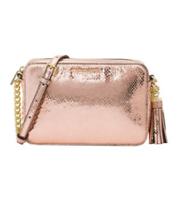 NWT MICHAEL KORS Soft Pink Metallic Leather Medium Camera Bag Retail $198