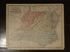 1870 Hand Colored Antique Engraved Map of VA & West Virginia as its own state