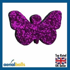 Electric Purple Glitter Butterfly Car Aerial Antenna Ball Topper