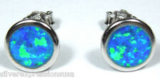 5.5mm Round shape Blue Fire Opal Inlay 925 Sterling silver stud post earrings
