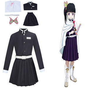 Anime Demon Slayer Costume Kids Girls Uniform Child Dress Tsuyuri Kanao Cosplay