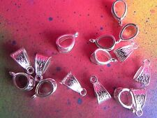 15 Large Silver Plated Bail Connector Charm European Spacer Beads Bails