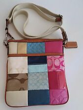 Authentic COACH Signature Patchwork Suede Leather Swingpack Cross Body Bag MINT
