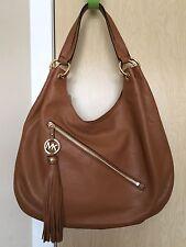 MICHAEL KORS Brown Pebble Leather Tassel Shoulder Bag Purse Handbag $368